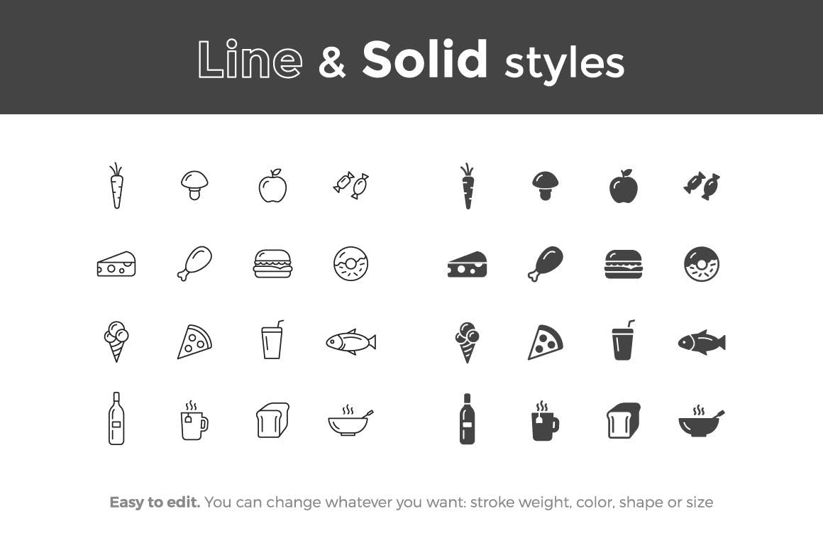 16个食品精致线性图标系列源文件下载Food Icons插图(1)