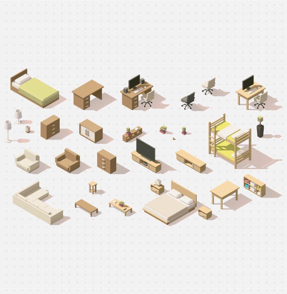64个家具创意2.5D风格插图Furniture Isometric Flat Set插图(1)