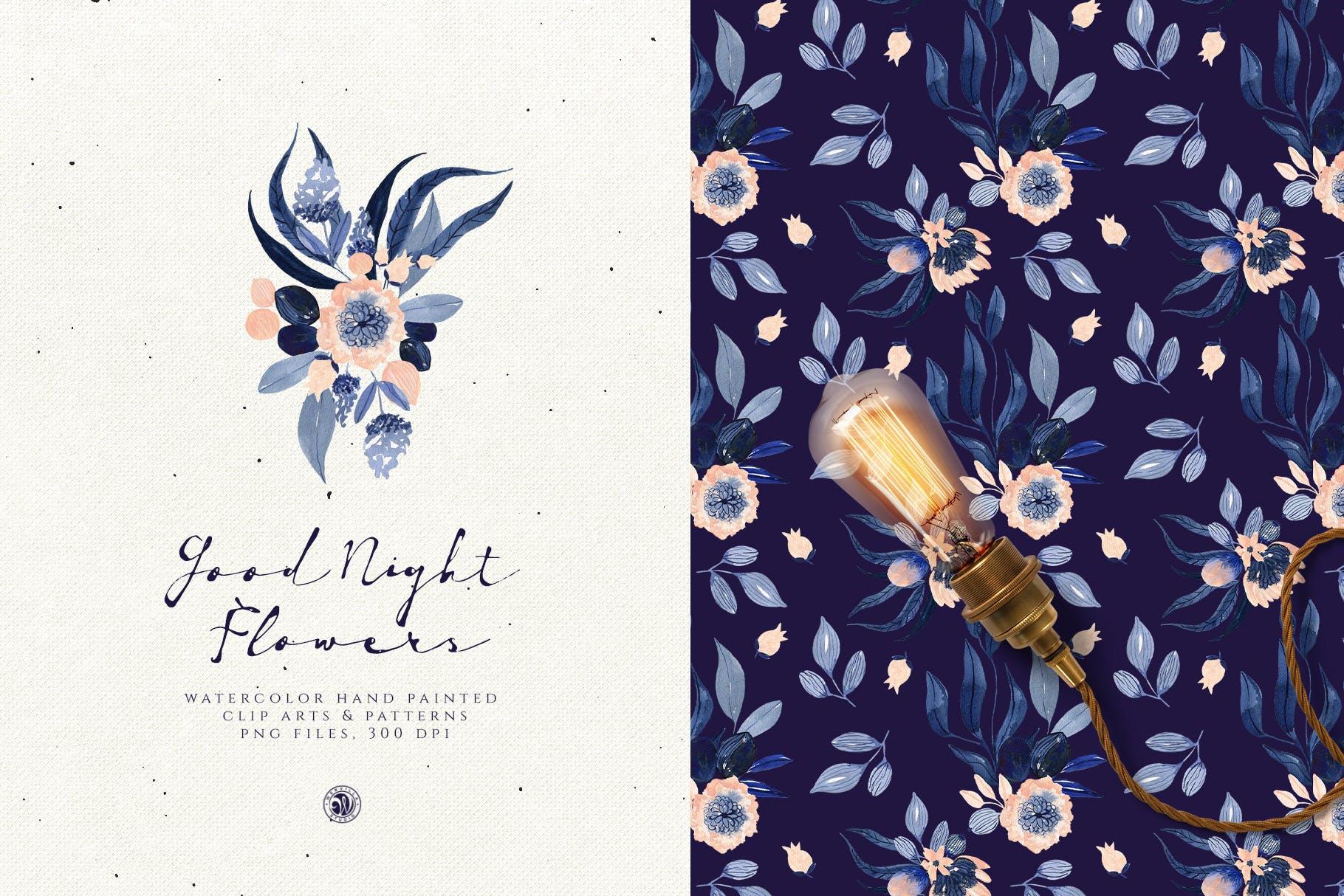 暗夜水彩画花卉手绘水彩画剪贴艺术图案/纹理素材Good Night Flowers插图(1)