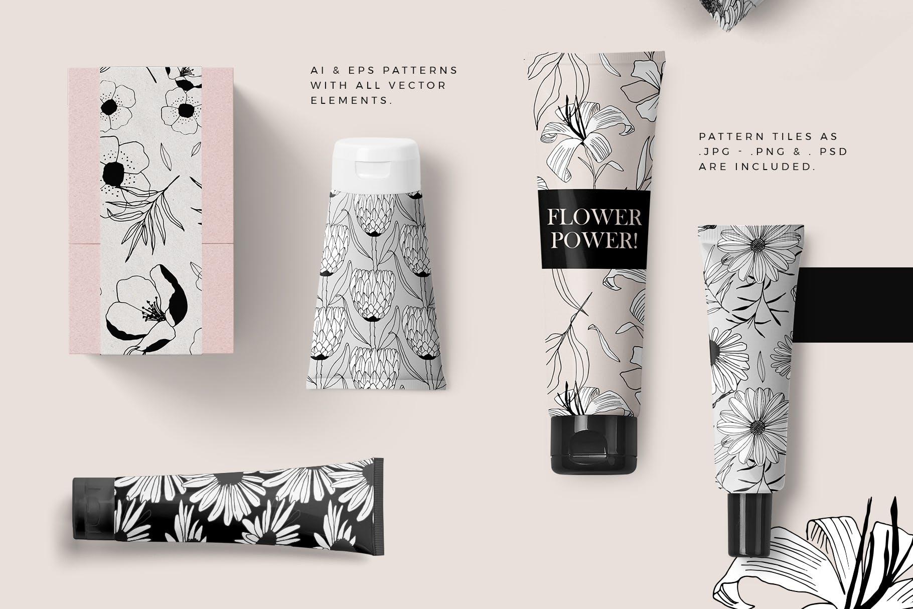 图形花卉图案装饰性元素图案花纹素材下载Graphic Flowers Patterns Elements插图(1)