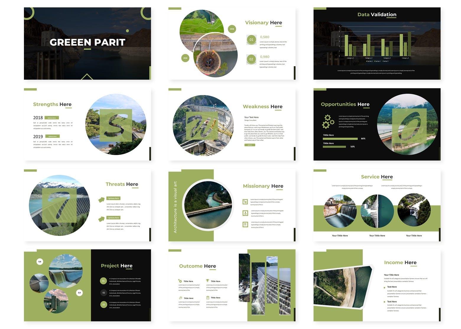 绿色能源水利发电行业数据PPT模板Green Parit Google Slides Template插图(1)