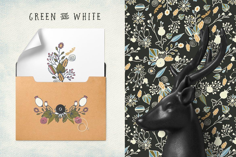 服装花纹包装图案花纹素材模板下载Green and White Flowers插图(1)