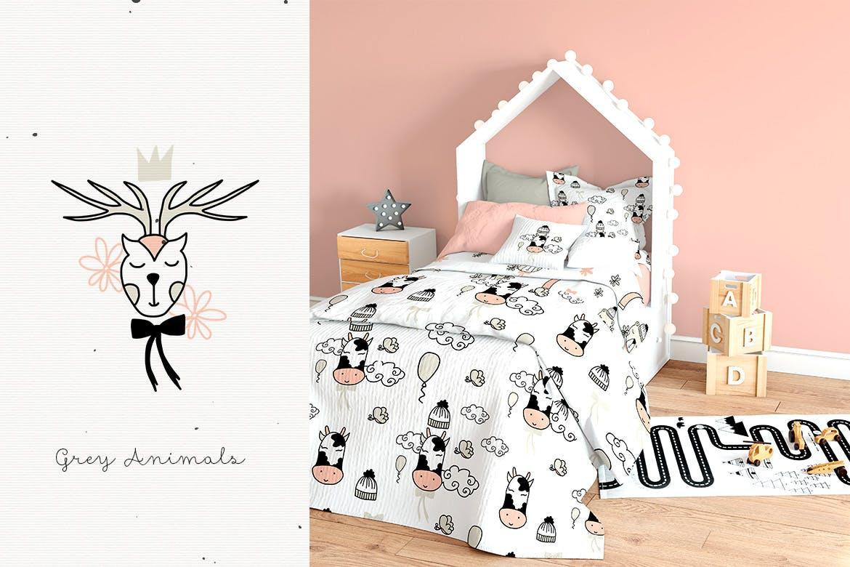 灰色动物手工剪纸和图案精致的家庭装饰图案Grey Animals插图(1)