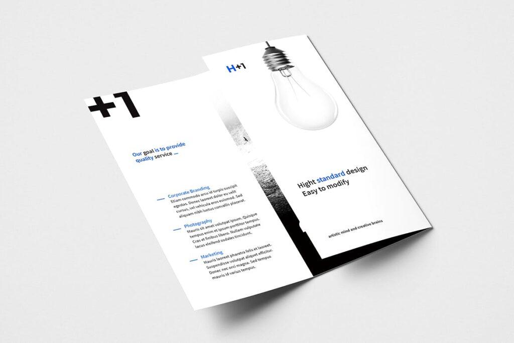 企业产品目录三折页模板素材H1 Trifold Brochure插图(1)