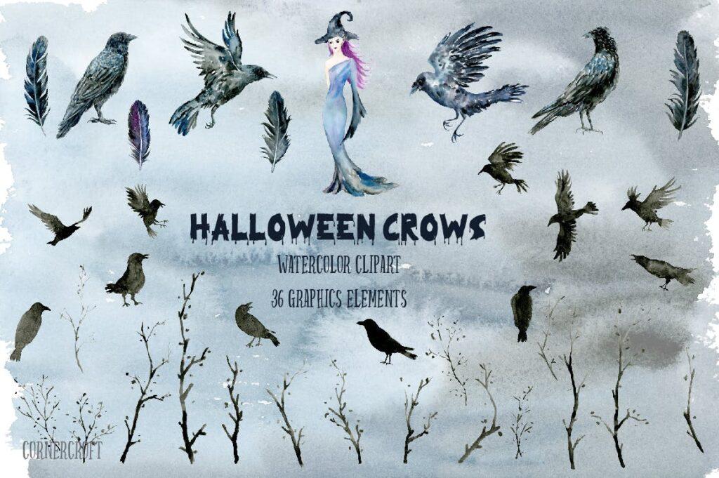 水彩万圣节乌鸦/女巫元素相框装饰画Halloween Crows and Witch Watercolor插图(1)