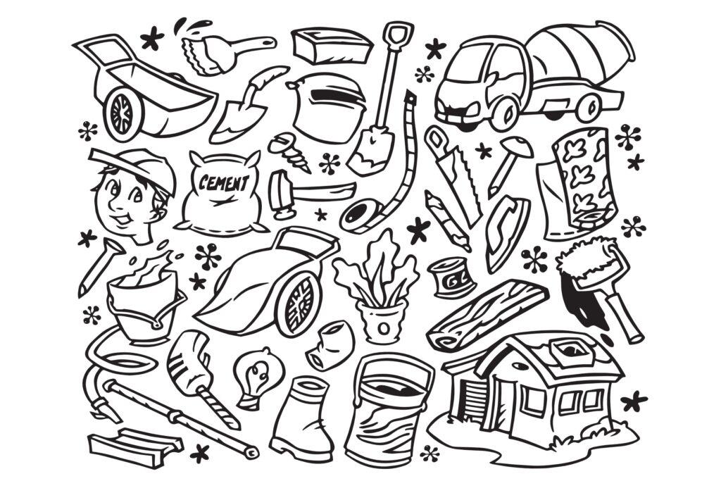 30个家居装饰图案涂鸦线性图标矢量元素下载Home Improvement Doodles插图(1)