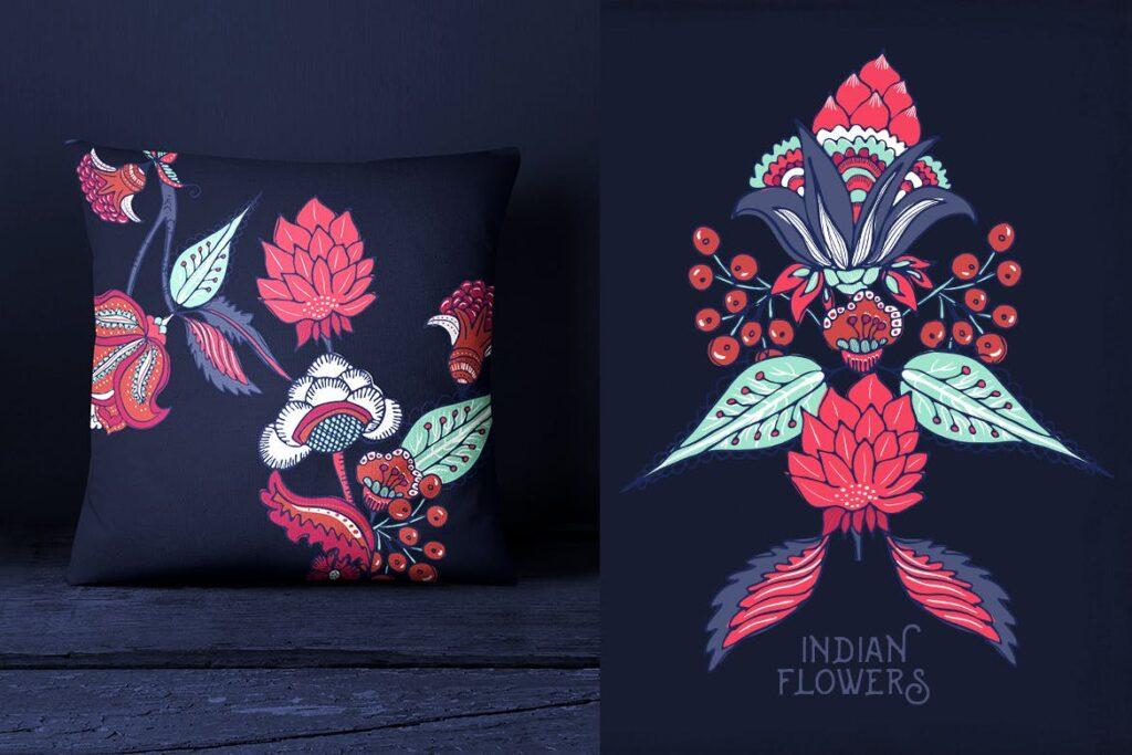 印度风格花卉插花抱枕装饰图案花纹Indian Flowers插图(1)