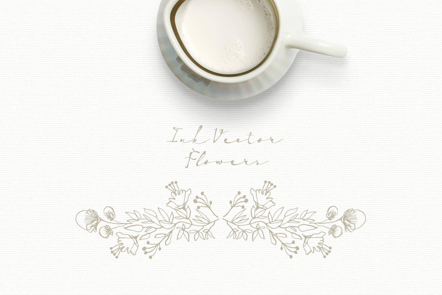 手工研磨制品装饰图案Ink Vector Flowers插图(1)