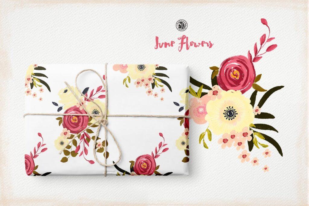 花卉手工剪纸装饰图案纹理June Flowers插图(1)