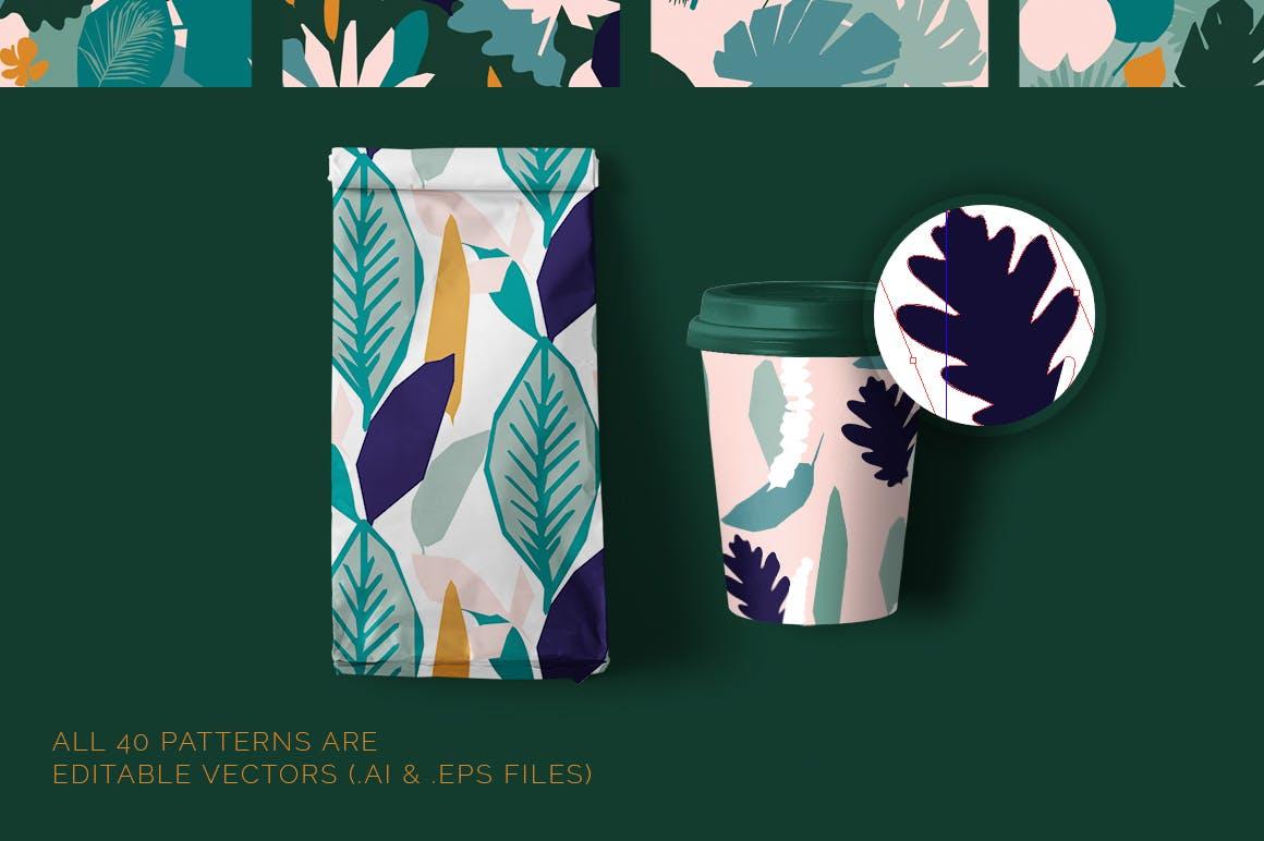 野外40个丛林元素矢量图案元素下载Jungle Patterns Collection插图(1)