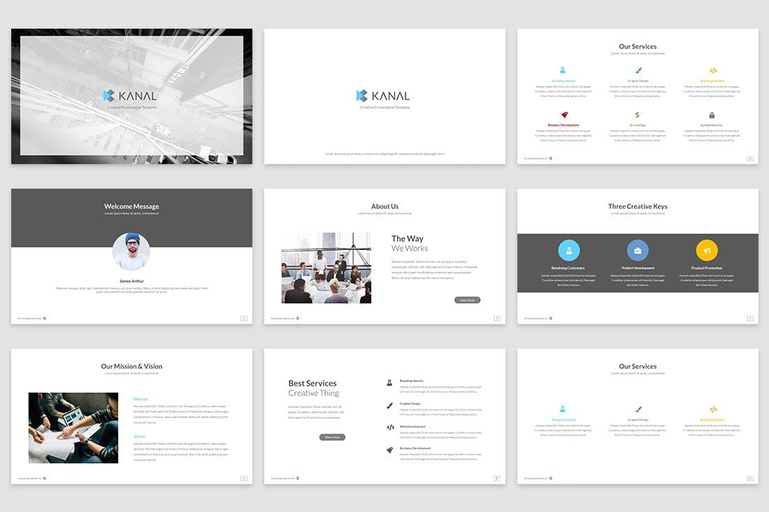 极简主义的创意主题设计PPT幻灯片模板Kanal Google Slides Template插图(1)