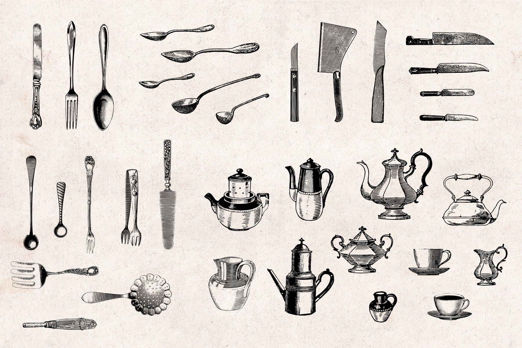 84个矢量复古手绘厨房工具和用具元素Kitchenware Engraving Illustration Set插图(1)