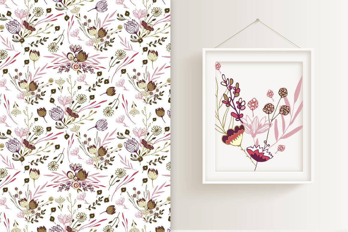 薰衣草花轮廓图素材模板图案纹理下载Lavender Flowers插图(1)