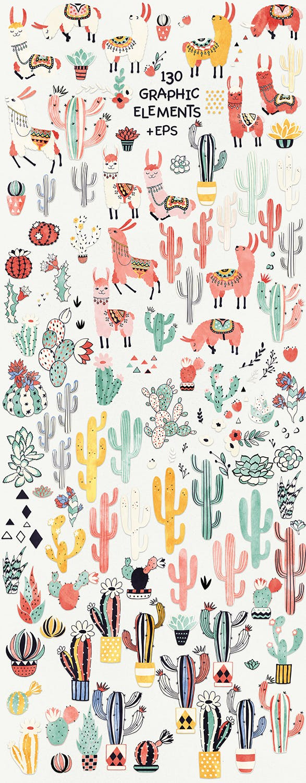 骆驼和仙人掌轮廓素材图案纹理Llamas and Cacti插图(1)