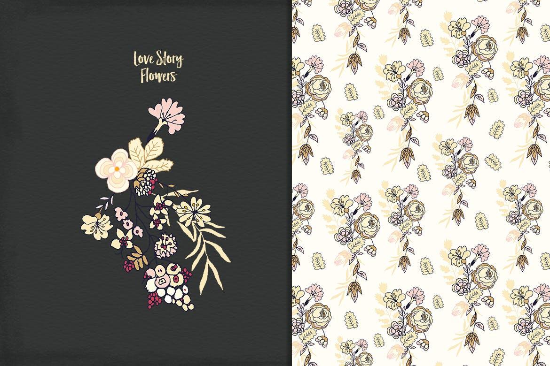 品牌花卉图案婚礼请柬服装类装饰图案Floral Cliparts插图(5)