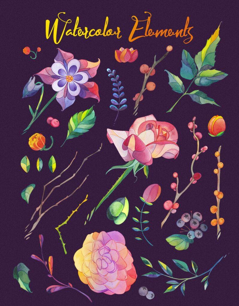 30个风俗化矢量插图的花叶海报传单传单装饰图案Lunar Flower Watercolor Graphic Kit插图(1)
