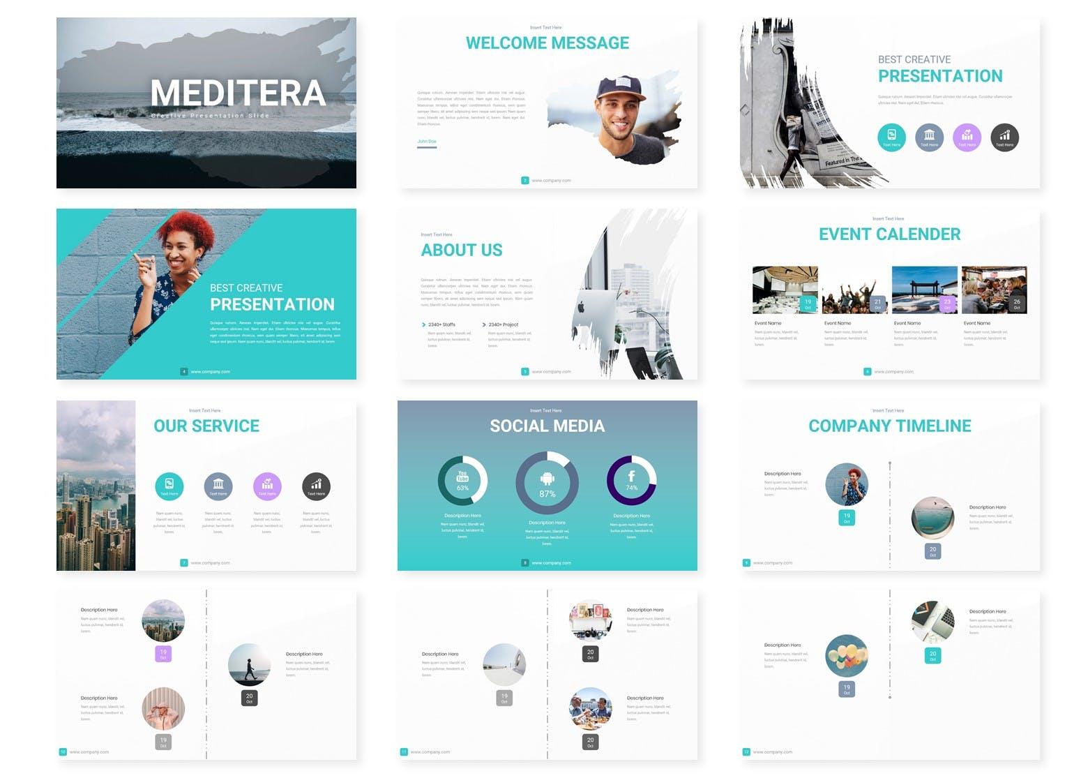 企业历史发展回顾主题演讲PPT幻灯片模板Meditera Keynote Template插图(1)