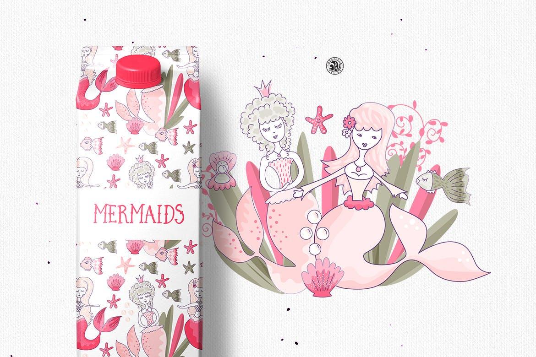 美人鱼粉红色矢量剪贴画和图案Mermaids插图(1)
