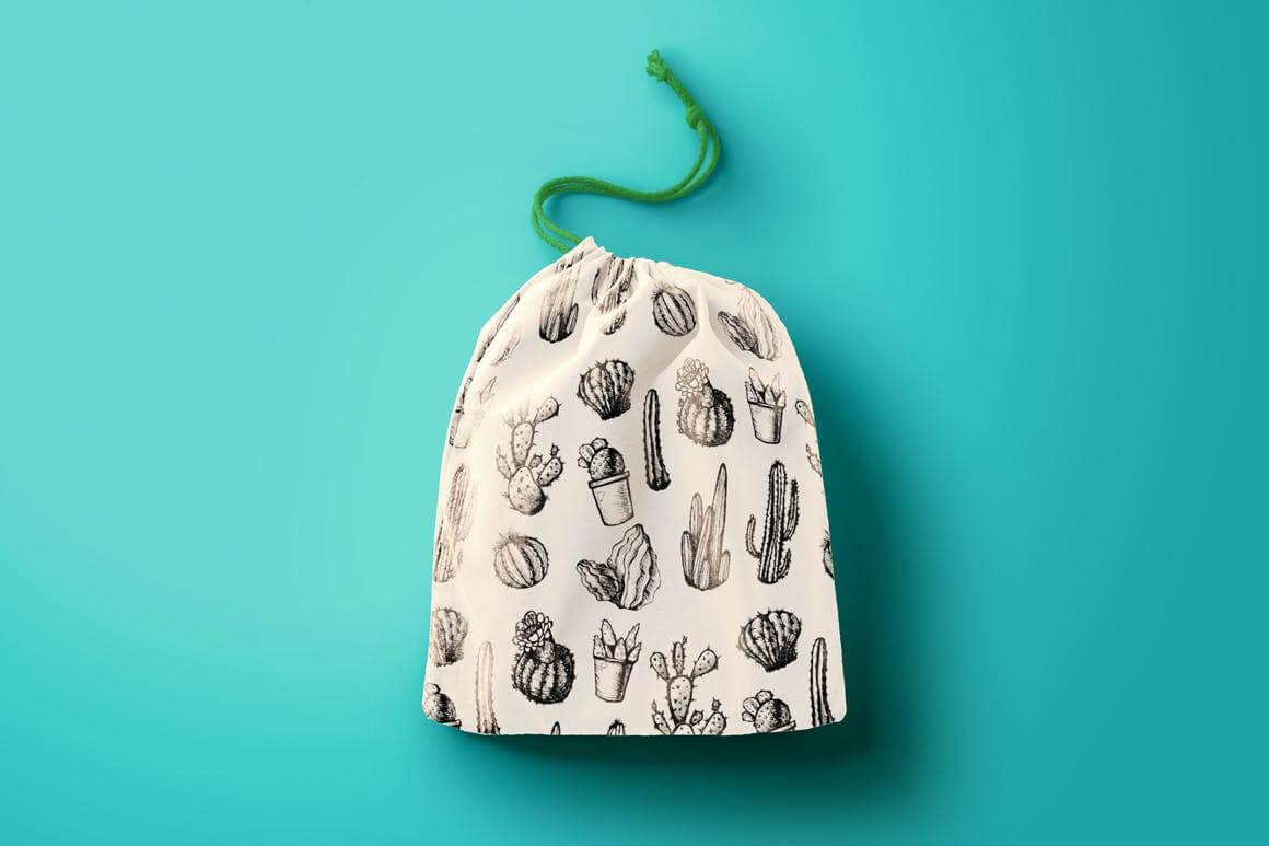 墨西哥仙人掌图案黑白包装图案装饰图案下载Mexican Cactus Patterns插图(1)