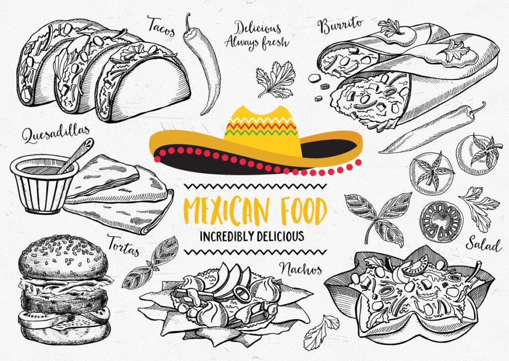 墨西哥美食涂鸦元素装饰图案下载Mexican Food Elements插图(1)