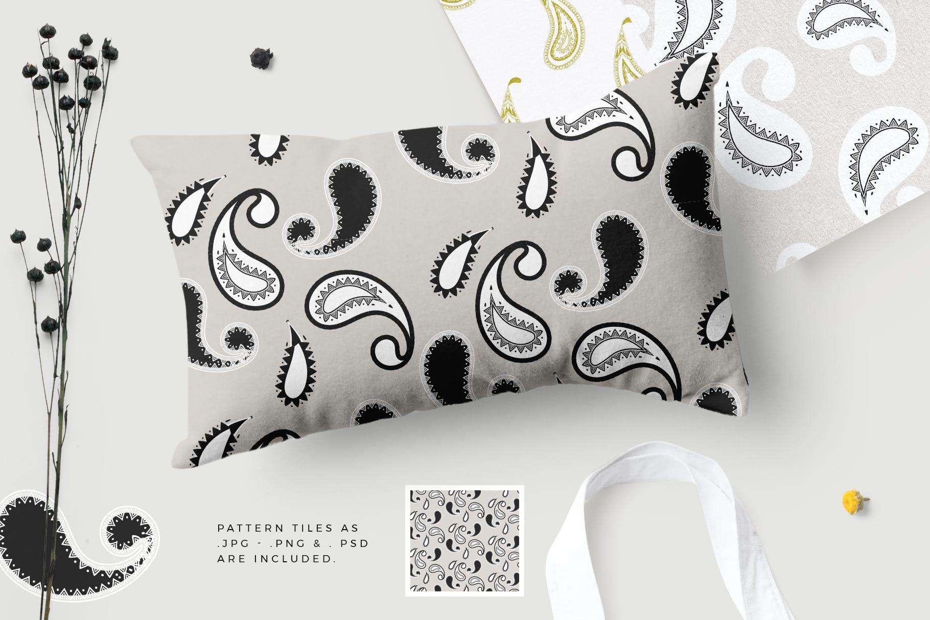 40个现代经典装饰花纹组合矢量图案Modern Paisley Seamless Patterns插图(1)