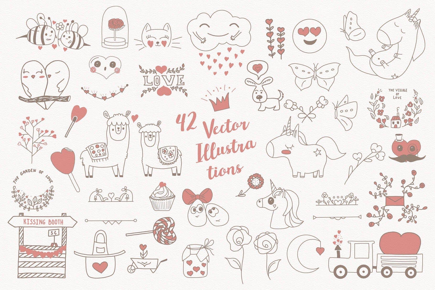 喜悦和甜蜜主题元素图形类别素材合集Mom I'm in Love Vector Set插图(1)