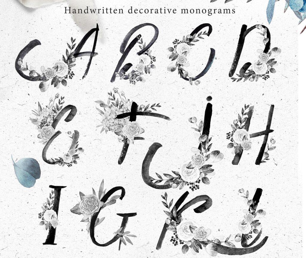艺术风格灰色字母组合花束装饰图案纹理素材下载Monograms Artarianvol1插图(1)