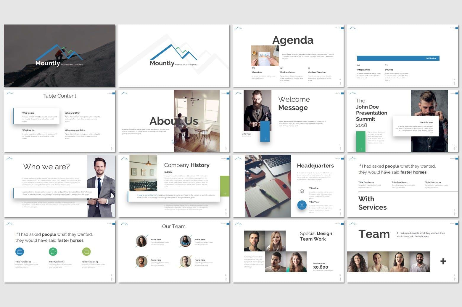 极简主义企业数据演示文稿模板下载Mountly Powerpoint Template插图(1)