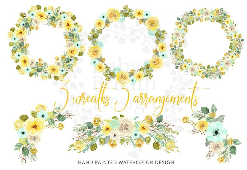 芥末花环创意图案设计装饰花环Mustard Wreath design插图(1)