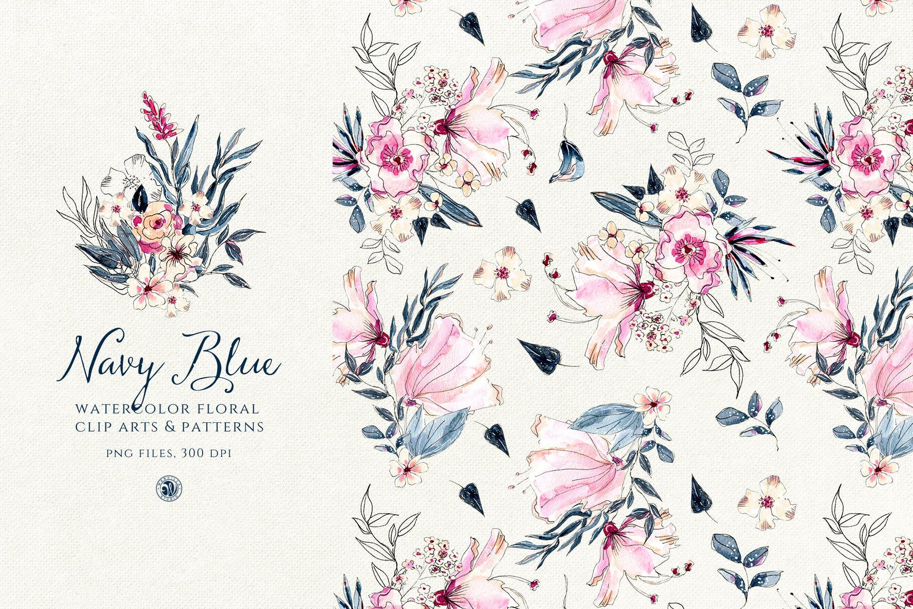 海军蓝花朵手绘水彩花朵和图案装饰元素下载Navy Blue Flowers插图(1)