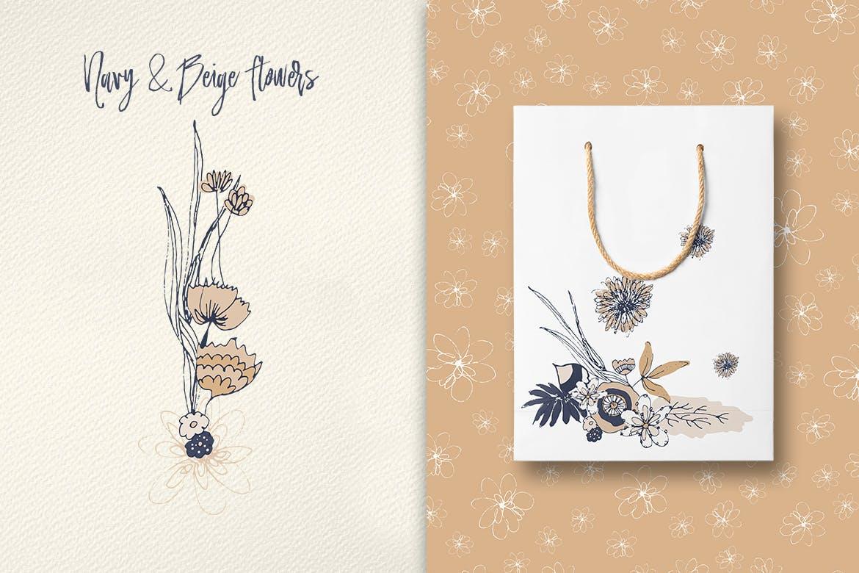 海军蓝和米黄色的花企业品牌装饰图案素材Navy and Beige Flowers插图(1)