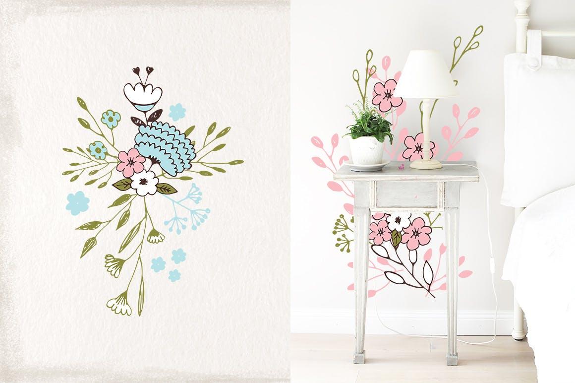 室内墙体装饰纹理素材装饰画Nice Flowers插图(1)