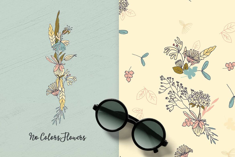 企业品牌纹理印刷装饰图案素材No Colors Flowers插图(1)