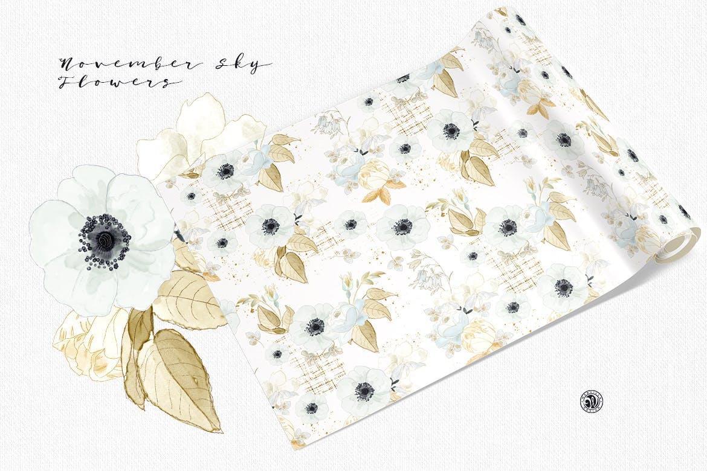 婚礼素雅白色花系装饰图案素材装饰图案下载November Sky Flowers插图(1)