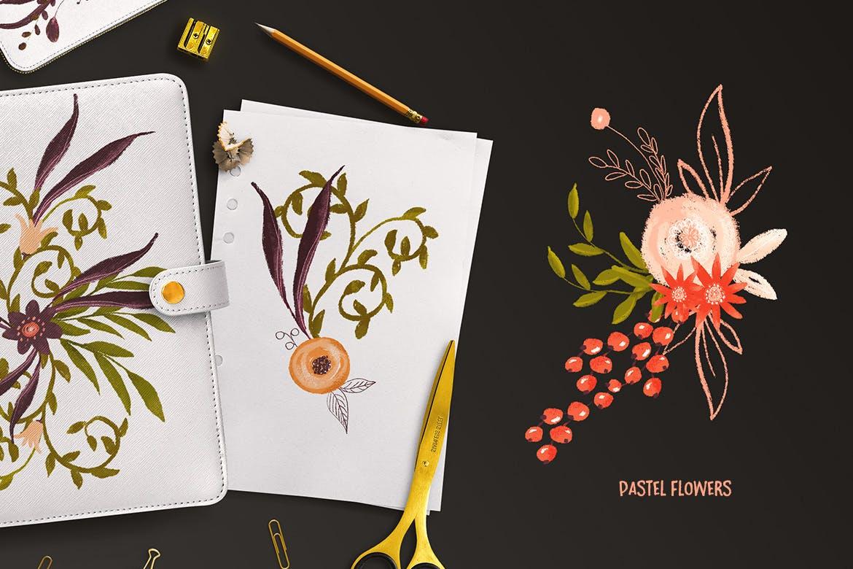 粉彩花卉花卉手工剪纸与金色涂料装饰图案Pastel Flowers插图(1)
