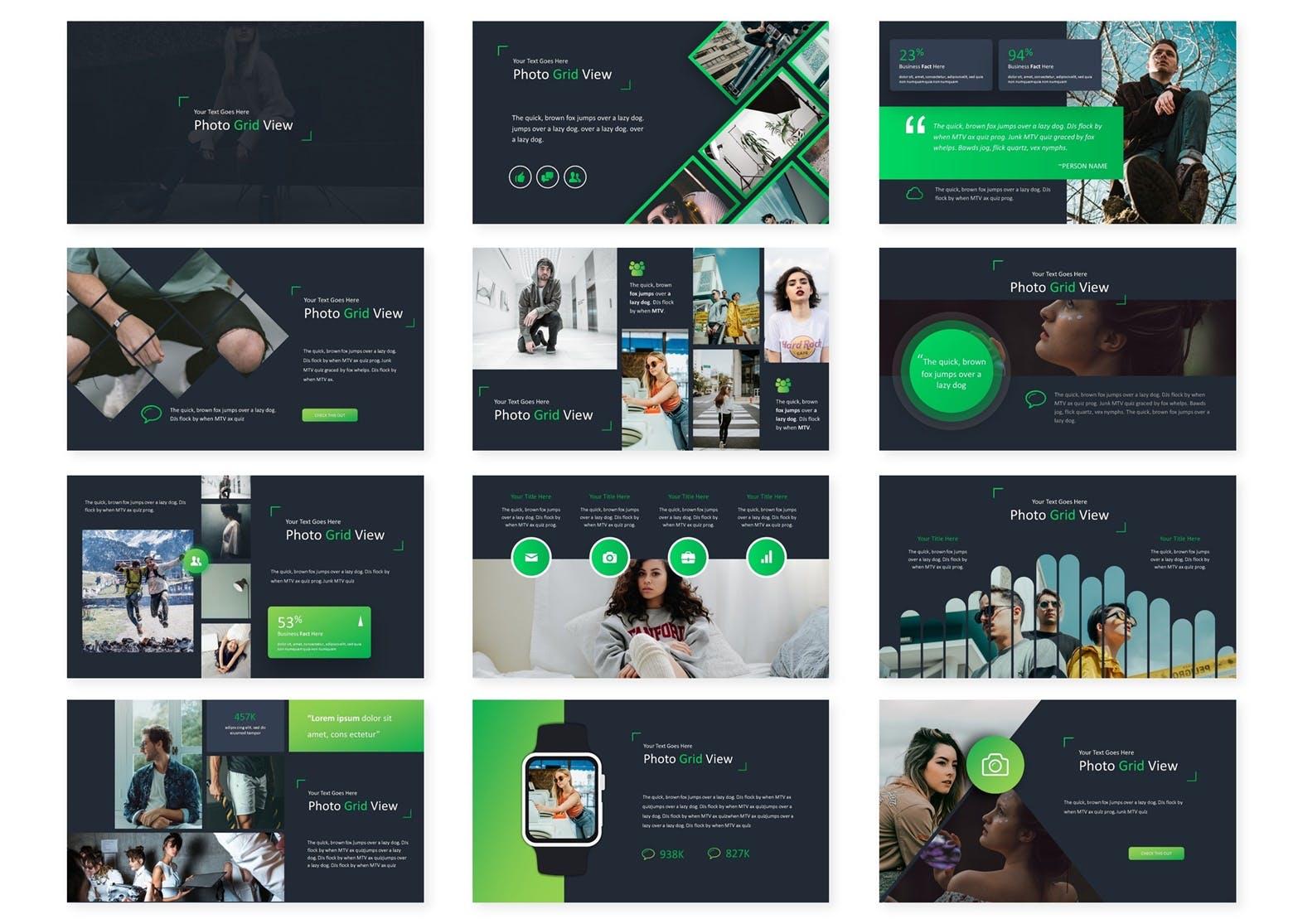 企业业务市场策划PPT幻灯片模板下载Photo Grid Keynote Template插图(1)