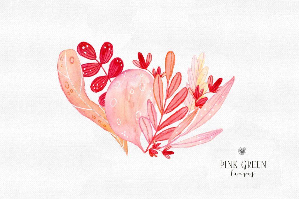 粉红色叶子水彩花卉装饰图案花纹Pink Green Leaves插图(1)