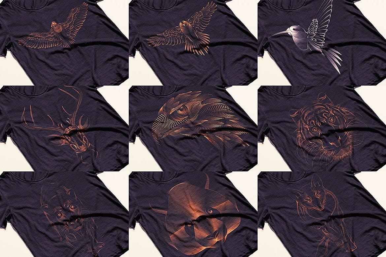 杂点风动物头像设计服装品牌装饰图案Point Animals T-shirt Vector Designs插图(1)