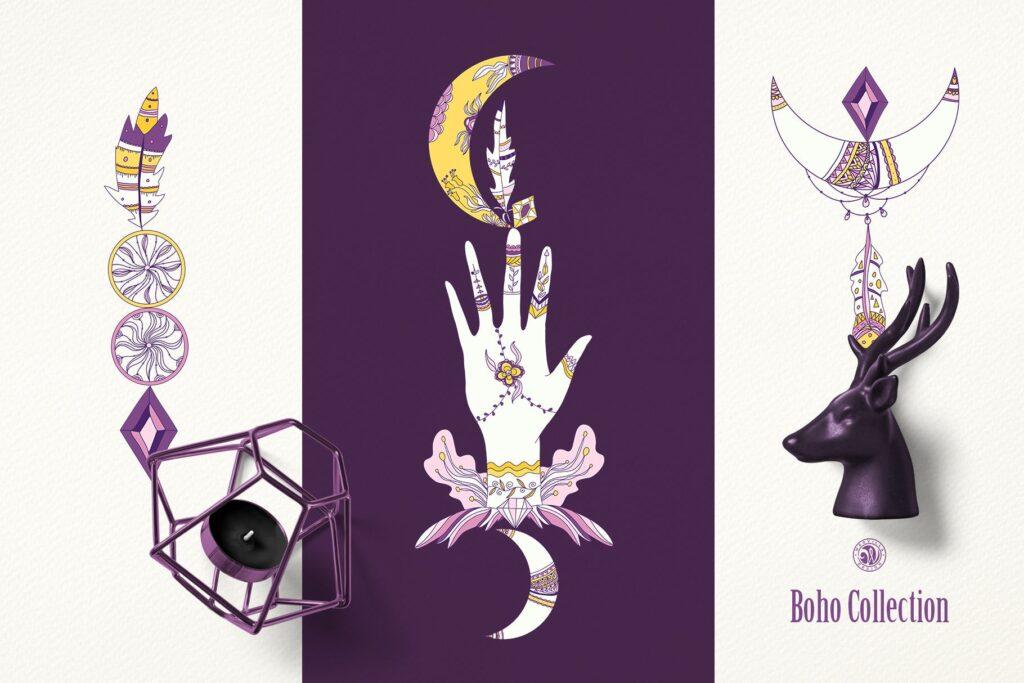 紫色波西米亚手绘系列波西米亚手工剪纸装饰图案Purple Boho Collection插图(1)