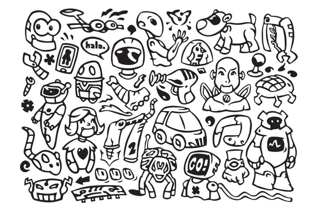 30个机器人涂鸦矢量图标装饰图案花纹素材Robo Robot Doodles插图(1)