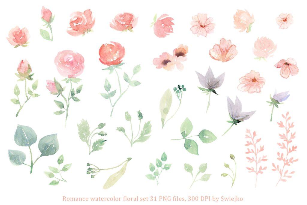 31幅粉色手绘水彩花卉和树叶装饰图案Romantic Watercolor Flowers插图(1)
