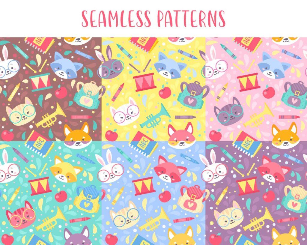 可爱动物肖像相关元素素材下载School Kids Set Seamless Patterns Elements插图