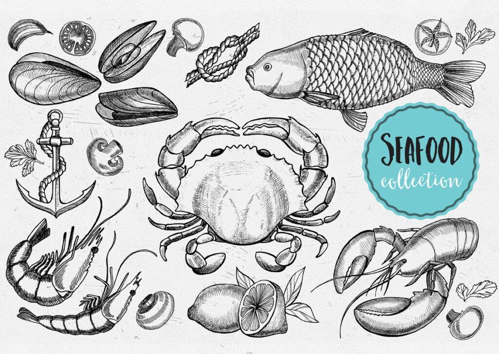 海鲜涂鸦元素海鲜水产品牌装饰元素图案花纹下载Seafood Elements插图(1)