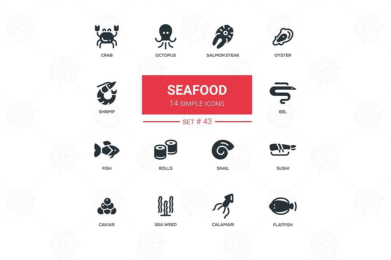 海鲜概念线设计图标素材下载Seafood concept line design icons set插图