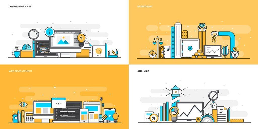 金融类企业数据描边风场景插画设计Set of Flat Line Color Banners Buwzlx插图(2)