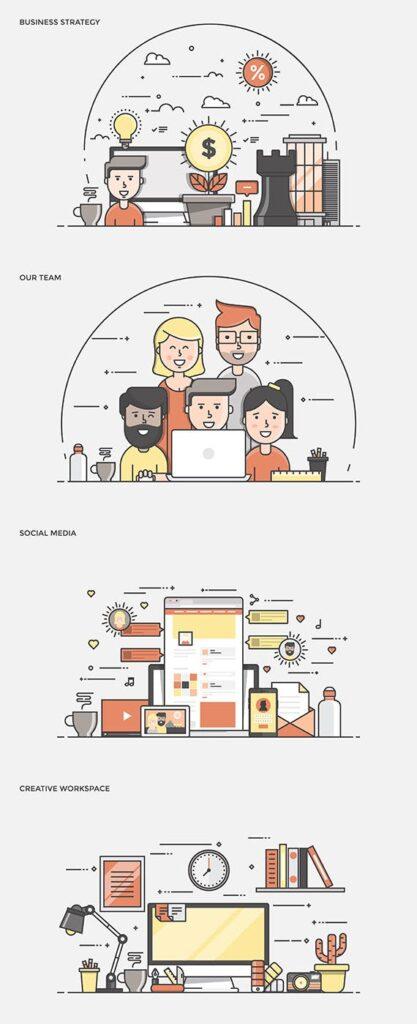 描边风企业办公类场景插画素材 Hjeu5a插图(1)