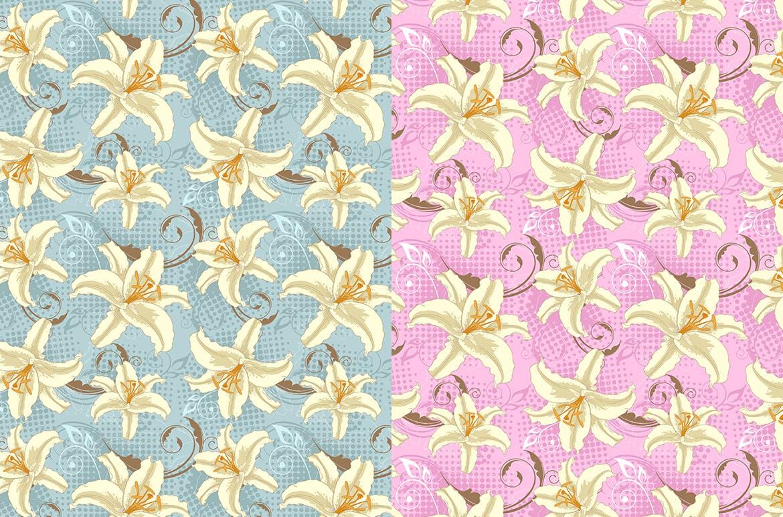 6款花卉无缝图案装饰图案素材Set of Floral Seamless Patterns插图(1)