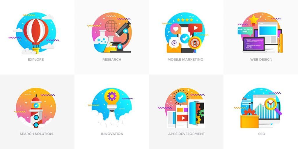 商业活动数据演示主题插画素材Set of Modern Flat Multi Color Conceptual icons插图(1)