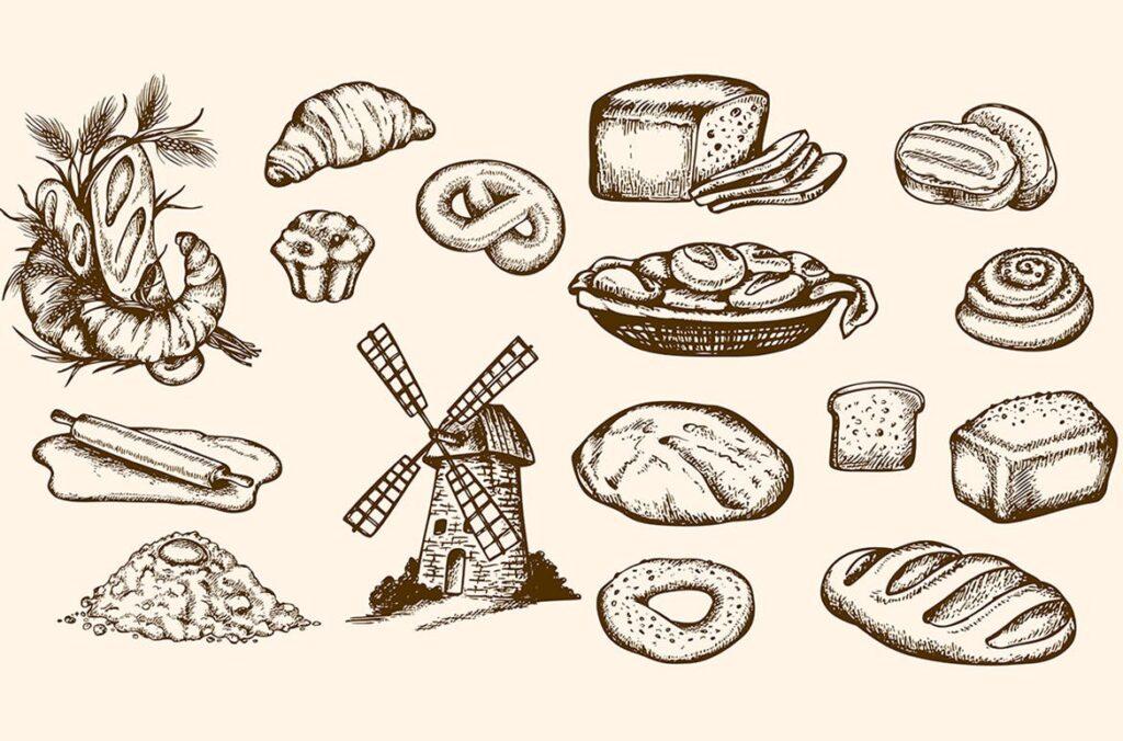 面包手绘复古风格素材包Set of Vintage Bakery插图(1)