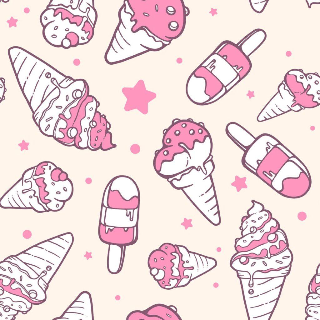 冰淇淋与星星创意插图元素组合粉红色和白色的背景展示Set of colorful patterns with ice creams插图(1)